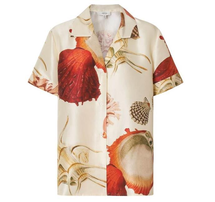 "Silk Ocean Shell Blouse, $329 by [Oroton](https://oroton.com/silk-ocean-shell-blouse-pale-sand-6|target=""_blank""|rel=""nofollow"")."