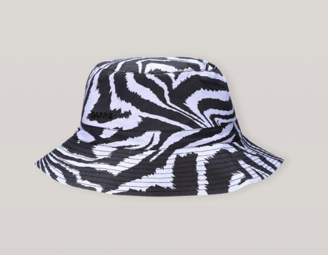 "Printed Cotton Bucket Hat, $135 by [GANNI](https://www.ganni.com/en-au/printed-cotton-poplin-hat-A3373.html?dwvar_A3373_color=Forever%20Blue|target=""_blank""|rel=""nofollow"")."