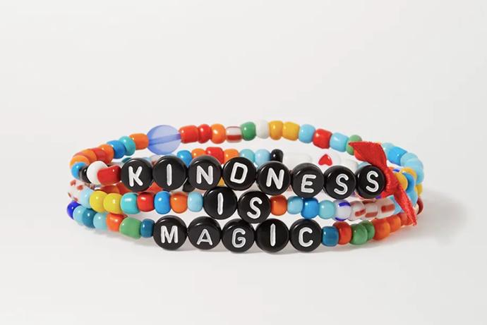 "Kindness is Magic Three-Piece Bracelet Set by Roxanne Assoulin, $63 at [Net-A-Porter](https://www.net-a-porter.com/en-au/shop/product/roxanne-assoulin/kindness-is-magic-set-of-three-enamel-bracelets/1297038|target=""_blank""|rel=""nofollow"")."