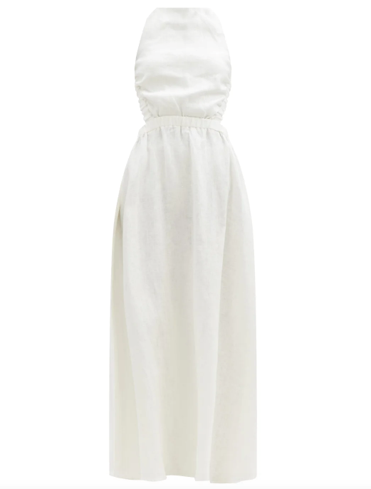 """Alena Maxi Dress in Ivory, $350 by [Sir The Label](https://sirthelabel.com/products/alena-maxi-dress