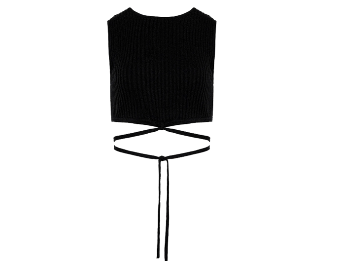 """Sleeveless Knit Tie Crop by Christopher Esber, $440 at [The Undone](https://www.theundone.com/collections/tops/products/sleeveless-knit-tie-crop