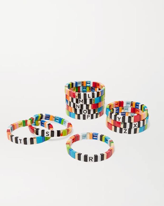 "**For The Custom Queen** <br><br> *'Alphabet Soup enamel bracelet' by Roxanne Assoulin, $116.86 at [Net-A-Porter](https://www.net-a-porter.com/en-au/shop/product/roxanne-assoulin/alphabet-soup-enamel-bracelet/1244966|target=""_blank""|rel=""nofollow"").*"