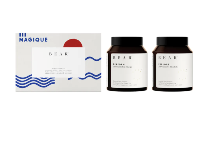 """HOLIDAY 20 DUET Essential Daily Vitamins Set by BEAR, $220 at [Sephora](https://www.sephora.com.au/products/bear-holiday-20-duet-essential-daily-vitamins-set-limited-edition/v/default