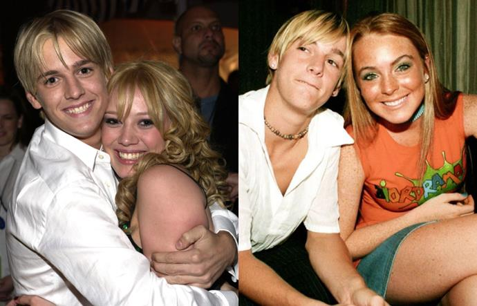 """**Hilary Duff, Aaron Carter and Lindsay Lohan**<br><br>  'Twas the triangle that defined our tween-age years. In 2000 (take us back), Aaron Carter guest starred in Hilary Duff's *Lizzie McGuire* Christmas special, and then, on his 13th birthday (bless), the two began dating. After dating Duff for almost two years, the """"I Want Candy"""" singer began dating Lindsay Lohan—at the same time.<br><br>  """"I started dating Hilary on my 13th birthday... I was dating her for like a year-and-a-half and then I just got a little bored, so I went and I started getting to know Lindsay, dating Lindsay. Then I didn't want to do that anymore, so I got back with Hilary. And then I ended up cheating on Hilary with her best friend. That's nothing to smile about. She wasn't even that good-looking either. She [Duff] really got her heart broken from me and I'm sorry for that,"""" he admitted to *CNBC* in 2005. Yikes.<br><br>  As he confessed, in 2003, Carter and Duff got back together, and were seen hugging and looking loved up at the premiere for the *Lizzie McGuire* movie (see left photo), before calling the whole thing off a few months later when he cheated on her (again) with someone else. And so began the great 'feud' between Duff and Lohan, and while it was never confirmed that it was over Carter, Duff did address the end of their supposed 'rivalry' in 2007, telling [*People*](https://people.com/celebrity/hilary-duff-lindsay-lohan-mean-girls-no-more/