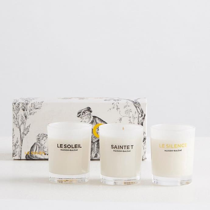 "Merci Candle Trio Set of 3 by Maison Balzac, made from soy wax with cotton wicks, $69 at [Adore Beauty](https://fave.co/33L1fuO|target=""_blank""