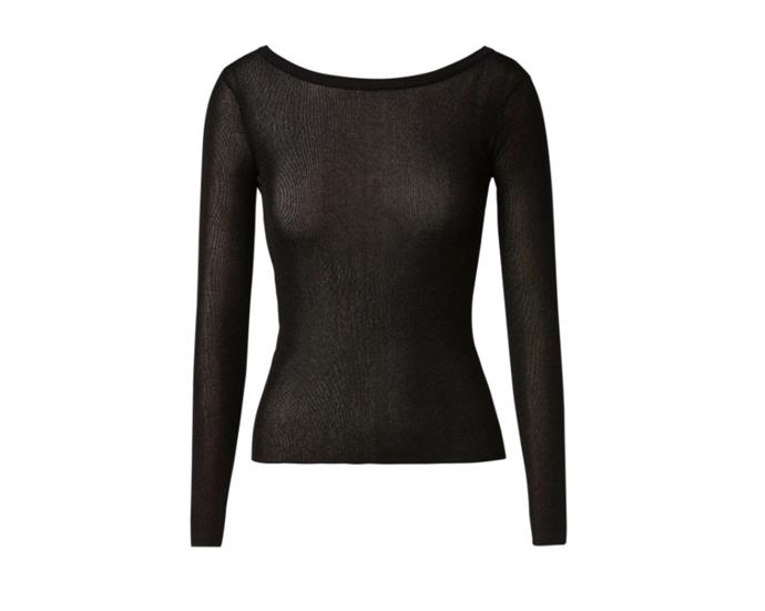 """Sparkle Rib Boat Neck Sweater, $220 by [Scanlan Theodore](https://www.scanlantheodore.com/products/sparkle-rib-boat-neck-swtr-18-black-1