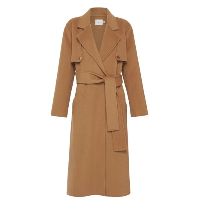 """Psychedelia Overcoat, $486 by [Aje](https://ajeworld.com.au/products/psychedelia-overcoat-tan?variant=32248906580034