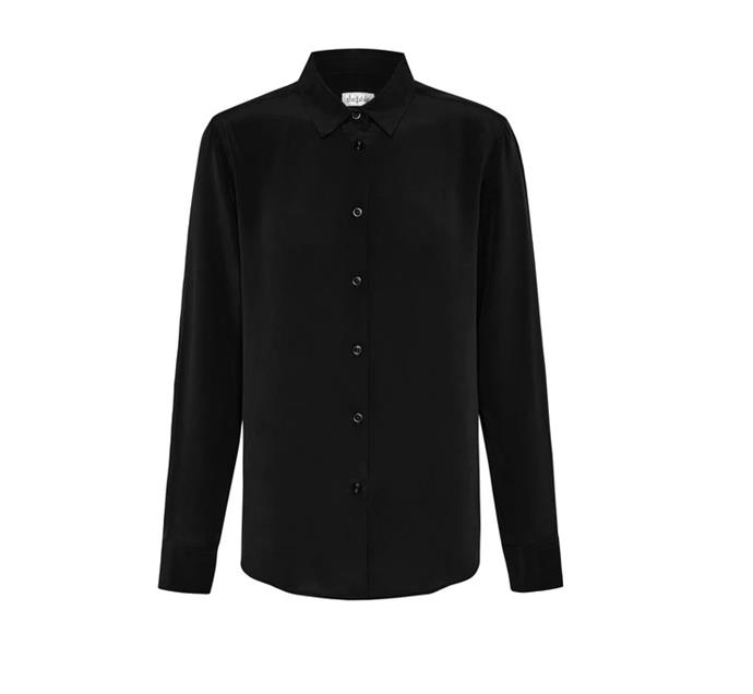 """Silk Shirt in Midnight Black, $175 by [The Fable](https://www.thefable.com.au/collections/all/products/midnight-black