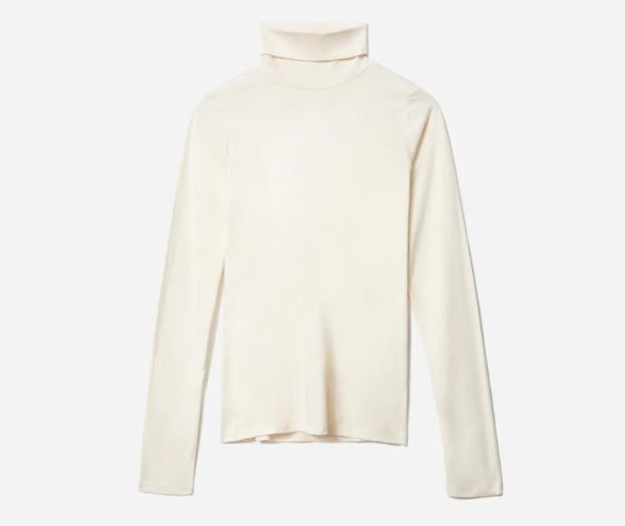 "The Organic Cotton Turtleneck, $43 by [Everlane](https://www.everlane.com/products/womens-organic-cotton-turtleneck-canvas?locale=AU&utm_medium=cpc&utm_source=pla-google&utm_campaign=9837047889&utm_content=456916717659&utm_term=aud-431369995882:pla-940403820438&adgroup=110388689441&pid=8002-59150&device=c&gclid=Cj0KCQiAtqL-BRC0ARIsAF4K3WFGcmqkvQtGwBB9DRbYdDnZzaZ9omNfn5aWCM8_8IQKux_b0hMQ6-4aAscPEALw_wcB|target=""_blank""|rel=""nofollow"")."