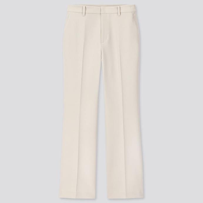"Ezy Flare Ankle Pants, $49.90 by [Uniqlo](https://www.uniqlo.com/au/store/women-ezy-flare-ankle-pants-2way-stretch-4253420027.html|target=""_blank""|rel=""nofollow"")."
