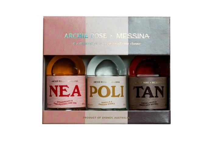"Archie Rose x Messina Neapolitan Set with Gin, Vodka and Whisky, $109 at [Archie Rose](https://archierose.com.au/shop/product/archie-rose-x-messina-neapolitan-set|target=""_blank""
