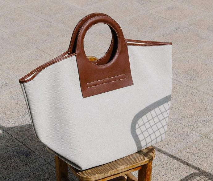 "**Hereu** <br><br> Timeless woven designs with canvas and leather accents. <br><br> *[Shop them here.](https://hereustudio.com/collections/bags|target=""_blank""
