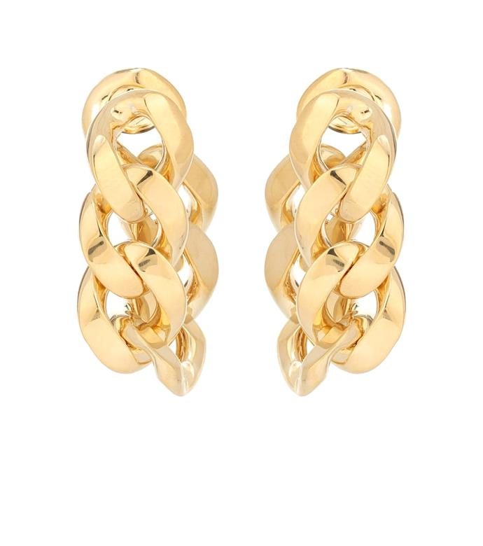 """**The Chunky Chain Earrings**<br><br>  Chain Drop Earrings made from gold-plated material by Bottega Veneta, $1,520 at [Mytheresa](https://fave.co/3mOLRFe