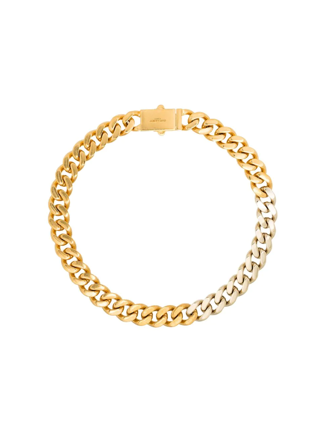 """**The Chunky Chain Necklace**<br><br>  Two-Tone Chain Necklace by Saint Laurent, $1,005 at [FARFETCH](https://fave.co/36LbaSW