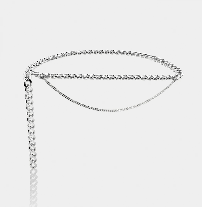 """**The Chunky Body Chain**<br><br>  'Gabriella' Thick Curb Chain Belt made from silver-plated brass, $315 at [Aureum](https://fave.co/2JWYHm0