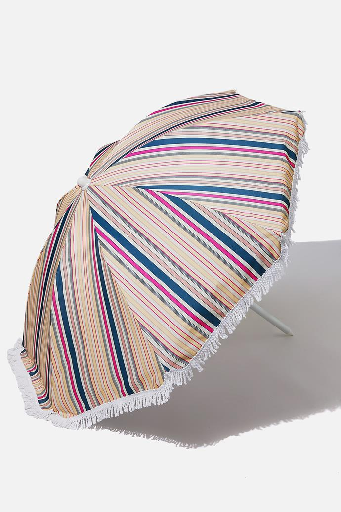 """**The Affordable Beach Umbrella**<br><br>  Looking to keep things under $50? This retro-striped number has got your name on it. That said, while it might be on the affordable side, it's not without the important features, including easy set-up and a UPF 30+ fabric canopy.<br><br>  *'Coolum Beach' Umbrella in retro stripe by Cotton On, $49.99 at [Cotton On](https://cottonon.com/AU/beach-umbrella/7342278-02.html?dwvar_7342278-02_color=7342278-02&cgid=&originalPid=7342278-02#q=beach%2Bumbrella&lang=en_AU&start=2