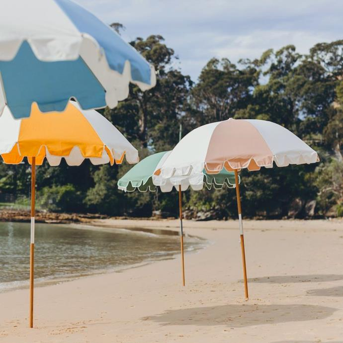 """**The Classic Beach Umbrella**<br><br>  There's nothing quite like a classic candy-coloured beach umbrella for those balmy weekends. Offering almost two metres of shade, UPF 50+ fabric and a carry bag for easy portability, it's the ultimate all-rounder for long sea-side days.<br><br>  *'The Weekend' Umbrella by Basil Bangs, available in various colours, $199 at [Basil Bangs](https://fave.co/3lUCtP0