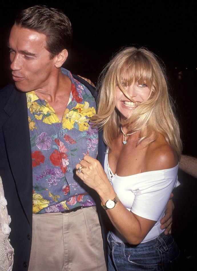 Arnold Schwarzenegger and Goldie Hawn in 1992.