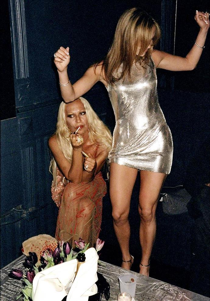 Donatella Versace and Jennifer Lopez in 1995.
