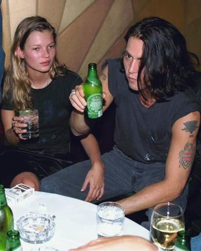 Kate Moss and Johnny Depp in 1994.