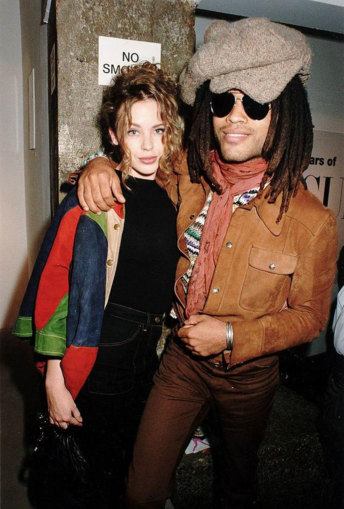 Kylie Minogue and Lenny Kravitz in 1995.