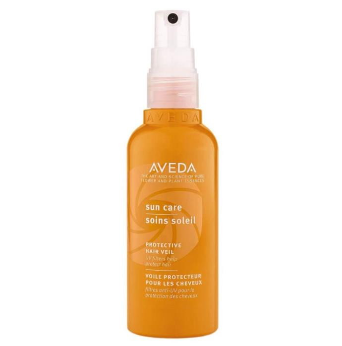 "**Slip, slop, slap.** <br><br> Yes, SPF for your hair is a real (and very necessary) thing. This particular formula contains water-resistant UV protection and locks in moisture to guard colour and shine against sunlight and saltwater. <br><br> Suncare Hair Veil by Aveda, $50 at [Adore Beauty](https://www.adorebeauty.com.au/aveda/aveda-suncare-hair-veil.html|target=""_blank""