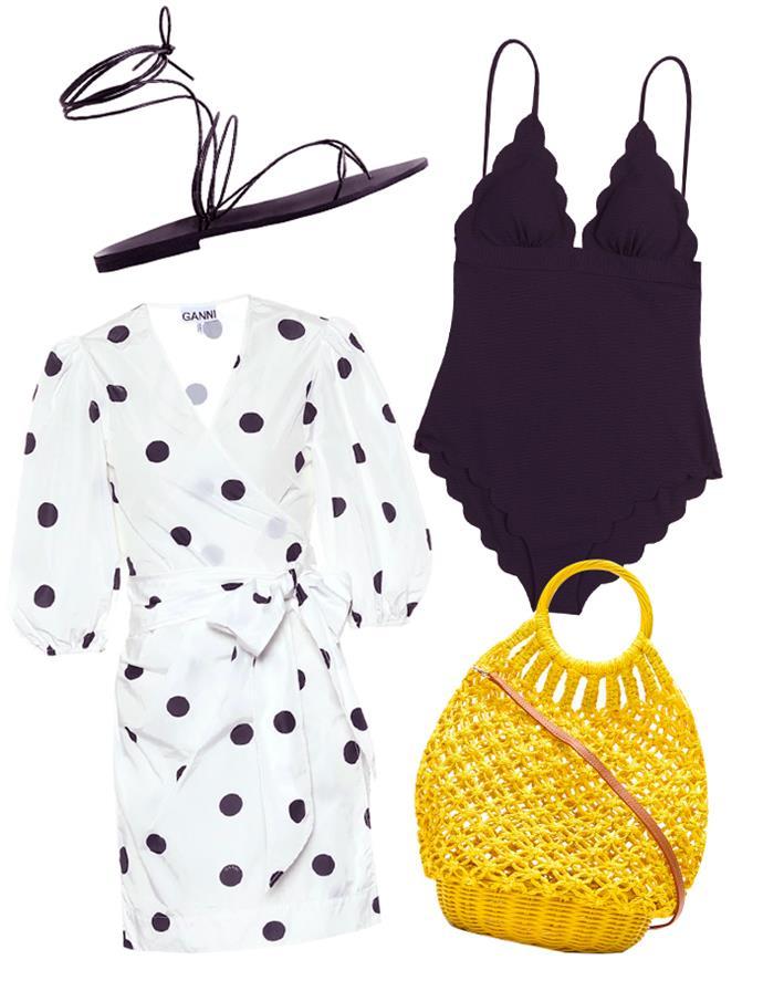 "Our recommendations: Dress by GANNI, $267 at [My Theresa](https://www.mytheresa.com/en-au/ganni-polka-dot-wrap-dress-1545976.html?gclid=CjwKCAiAiML-BRAAEiwAuWVggpGmgnKadqptAvQkfWcaI6kvWK2bUJ0_gkTtnEtepoPSgs5jpzZOJhoC7CcQAvD_BwE&utm_source=sea_pla&utm_medium=google&utm_campaign=google_sea&ef_id=CjwKCAiAiML-BRAAEiwAuWVggpGmgnKadqptAvQkfWcaI6kvWK2bUJ0_gkTtnEtepoPSgs5jpzZOJhoC7CcQAvD_BwE:G:s?pr=lptest2|target=""_blank""|rel=""nofollow""); Yellow bag by SERPUI, $674 at [Farfetch](https://www.farfetch.com/au/shopping/women/serpui-lara-crochet-basket-bag-item-14705133.aspx?storeid=9682|target=""_blank""|rel=""nofollow""); Sandals by Maria Farro, $199 at [The Undone](https://www.theundone.com/collections/sandals/products/copy-of-aelia-sandal-1|target=""_blank""|rel=""nofollow""); One piece, $490 at [Marysia Swim](https://marysia.com/collections/maillots/products/santa-clara-maillot-in-black|target=""_blank""|rel=""nofollow"")."