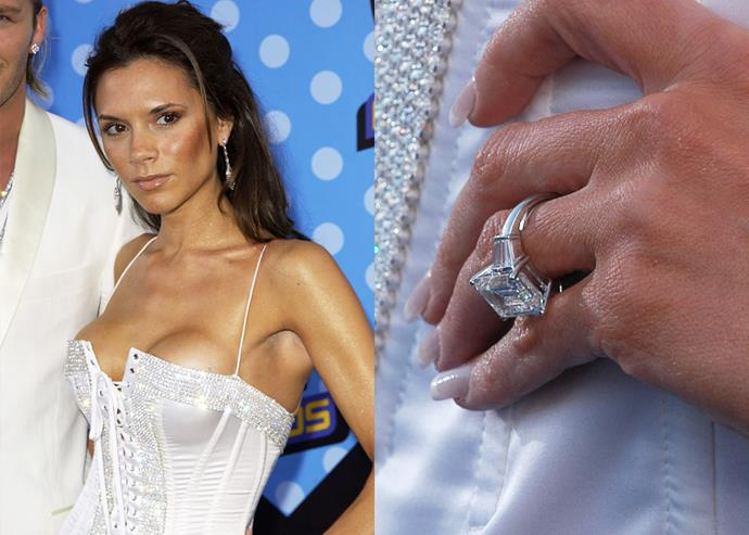 **2003: The emerald-cut diamond with side baguettes on a platinum band**<br><br>  In 2003, Mrs Beckham got her first major upgrade in this emerald-cut diamond with side baguettes, set in platinum.