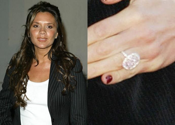 **2004: The pink oval-cut diamond with halo setting**<br><br>  In 2004, to celebrate her 30th birthday, David gifted Victoria with this pink champagne diamond ring in a halo setting. It was reportedly worth $1.1 million at the time.