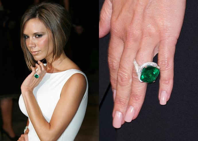 **2007: The cushion-cut emerald with a platinum spiral setting**<br><br>  Moving onto gemstones, Victoria got his huge cushion-cut emerald sitting inside a sculptural diamond spiral.