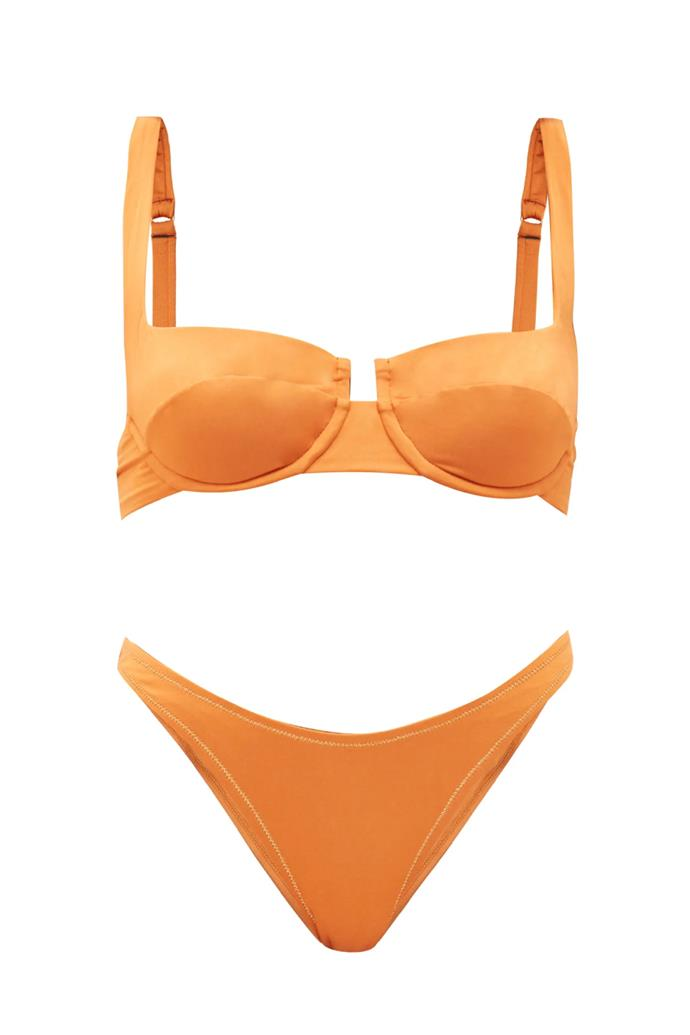 "Bikini [top](https://www.matchesfashion.com/au/products/Reina-Olga-Brigitte-underwired-balconette-bikini-top-1329141|target=""_blank""|rel=""nofollow""), $112 and bikini [bottom](https://www.matchesfashion.com/au/products/Reina-Olga-Selvaggia-high-cut-bikini-briefs-1329155|target=""_blank""|rel=""nofollow"") by Reina Olga, $241 at MATCHESFASHION.COM"