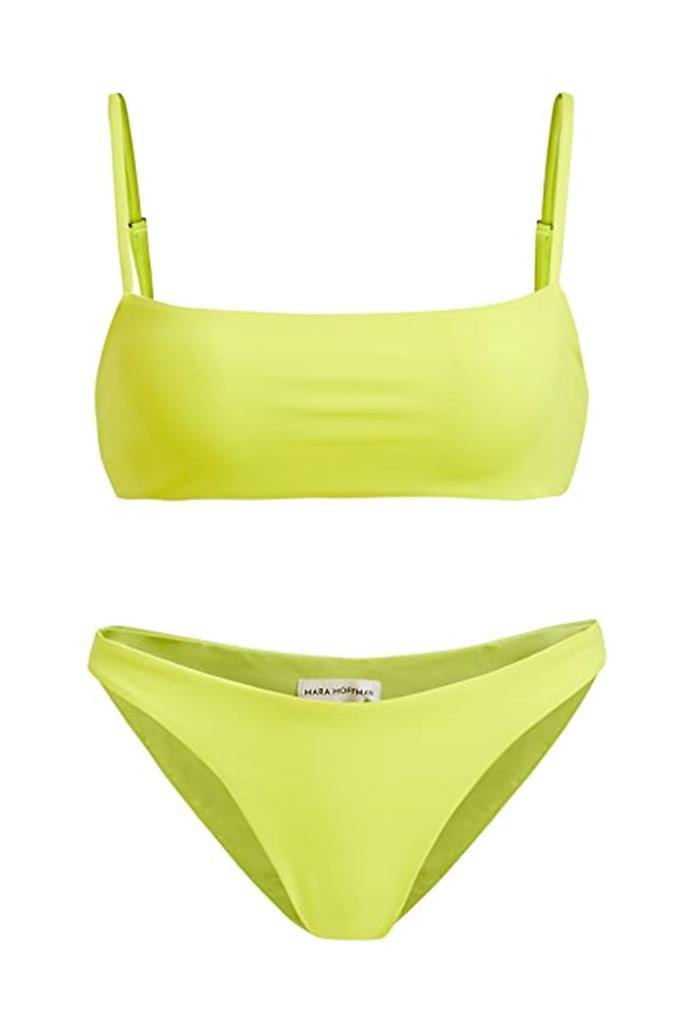 "Bikini [top](https://www.shopbop.com/sia-bikini-top-mara-hoffman/vp/v=1/1540102865.htm?folderID=13314&fm=other-shopbysize-viewall&os=false&colorId=17B08&ref_=SB_PLP_NB_87&breadcrumb=Clothing%3ESwimsuits%20&%20Cover-Ups%3EBikinis|target=""_blank""|rel=""nofollow""), $179.21, and bikini [bottoms](https://www.shopbop.com/reva-bikini-bottom-mara-hoffman/vp/v=1/1515095774.htm?folderID=13314&fm=other-shopbysize-viewall&os=false&colorId=17B08&ref_=SB_PLP_NB_85&breadcrumb=Clothing%3ESwimsuits%20&%20Cover-Ups%3EBikinis|target=""_blank""|rel=""nofollow""), $185.85 both by Mara Hoffman at Shopbop."