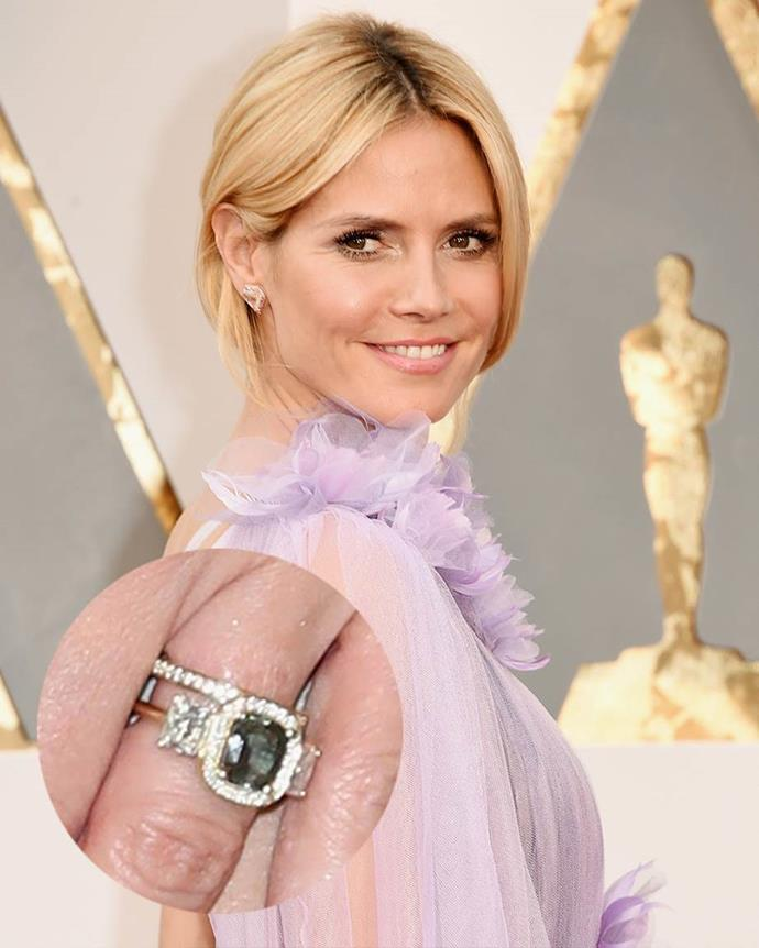 **Heidi Klum**<br><br>  Clearly not one for traditional stones, Klum's second engagement ring from Tom Kaulitz features a dark diamond or emerald in a gold setting.