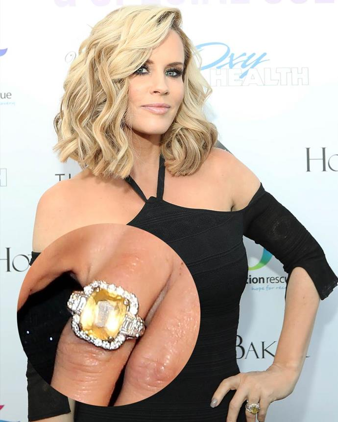 **Jenny McCarthy**<br><br>  McCarthy's statement piece includes a 10-carat yellow sapphire set on 18-carat white gold.