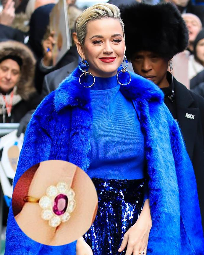 """**Katy Perry**  For his Valentine's Day proposal, Orlando Bloom gifted Katy Perry with an oval-cut ruby surrounded by round-cut diamonds, which she shared in a gorgeous [ring shot](https://www.elle.com.au/wedding/celebrity-enagement-ring-shots-23095 target=""""_blank"""") on Instagram. The ring is reportedly vintage."""