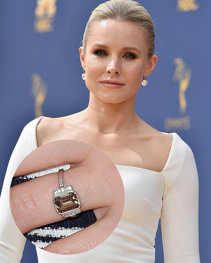**Kristen Bell**<br><br>  An unusual shade, Kristen Bell's ring is thought to be a three-carat 'cognac-coloured diamond'.