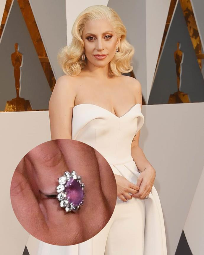 **Lady Gaga**<br><br>  During her engagement to Christian Carino, Lady Gaga wore a six-to-seven-carat pink-stone ring that is either a Padparadscha sapphire or pink diamond.