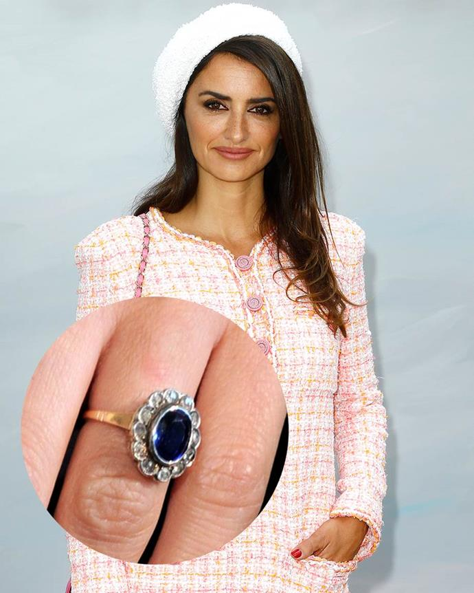 **Penélope Cruz**  Gifted to her in 2010 by husband Javier Bardem, Cruz's vintage ring consists of a three-carat oval sapphire surrounded by diamonds.