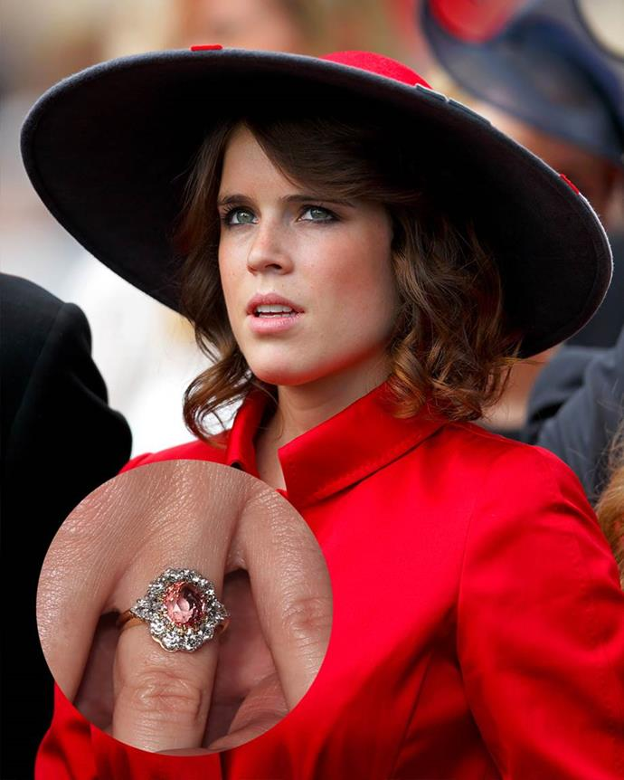 """**Princess Eugenie**<br><br>  After her boyfriend, Jack Brooksbank, proposed without a ring, he and Princess Eugenie worked on a design together. They echoed her mother's famous floral-ring and opted for a """"salmon-pink Padparadscha sapphire"""" surrounded by a halo of diamonds."""