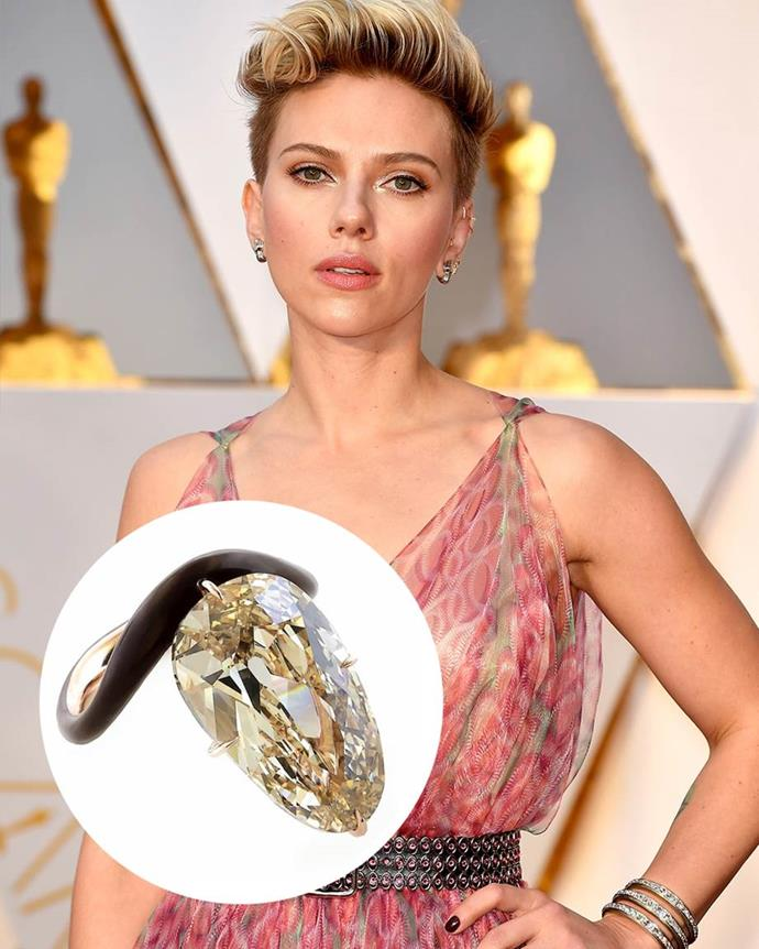 """**Scarlett Johansson**<br><br>  After getting engaged to comedian Colin Jost in 2019, Scarlett Johansson debuted this """"light brown diamond"""" set on a black band."""