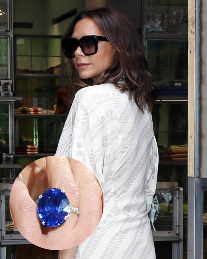 **Victoria Beckham**<br><br>  Her sapphire—an oval-cut sapphire on a pavé band—was first seen in 2010.