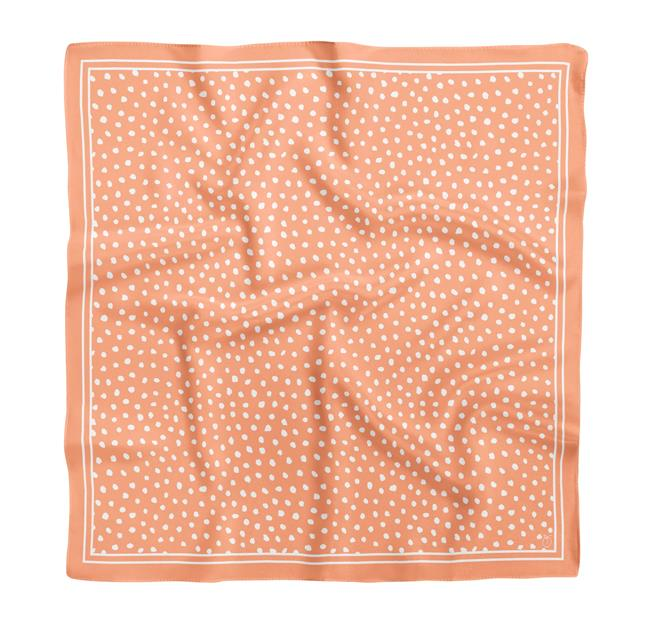 "Peach Spot On Classic Square Silk Scarf, $99 by [Frankie Peach](https://frankiepeach.com/products/peach-spot-on-classic-square-silk-scarf|target=""_blank""