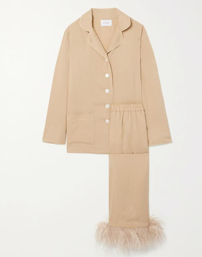 """Sleeper's beige crepe de chine pyjamas will serve you well now and post self-isolation: just add a pair off strappy sandals and an oversized pouch for an after-hours edit. <br><br> *Pyjama set by Sleeper, $342.66 at [Net-a-Porter](https://www.net-a-porter.com/en-au/shop/product/sleeper/feather-trimmed-crepe-de-chine-pajama-set/1307620