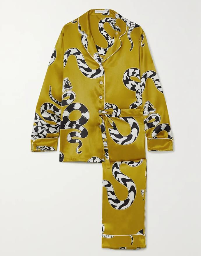"""Inspired by lounging pyjamas worn by Coco Chanel and her contemporaries in the '20s, Olivia Von Halle's silk-satin pyjama separates feature directional prints that are destined to brighten your workday. <br><br> *Pyjama set by Olivia Von Halle, $717.99 at [Net-a-Porter](https://www.net-a-porter.com/en-au/shop/product/olivia-von-halle/lila-printed-silk-satin-pajama-set/1291823
