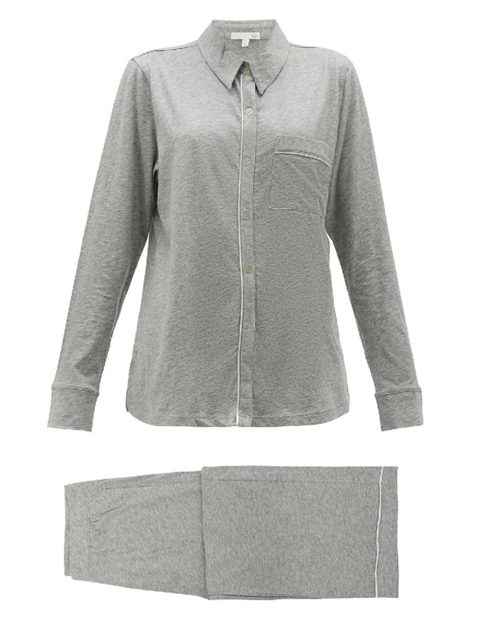 """Skin's cotton co-ords strike the perfect balance between laid-back and luxe. <br><br> *Pyjama set by Skin, $220 at [MATCHESFASHION.COM](https://www.matchesfashion.com/au/products/Skin-Penelope-pima-cotton-pyjamas-1301280