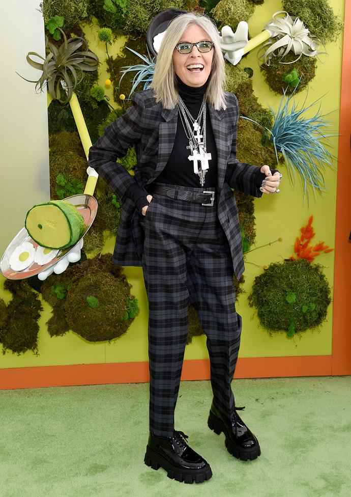 "***Diane Keaton***<br><br>  Known for her love of black and white, as well as patterns and accessories, Diane Keaton has always styled herself. ""I love clothes. I dress myself,"" she told the *[Telegraph](https://www.telegraph.co.uk/culture/10073120/Diane-Keaton-interview-Im-going-to-say-what-I-think.html