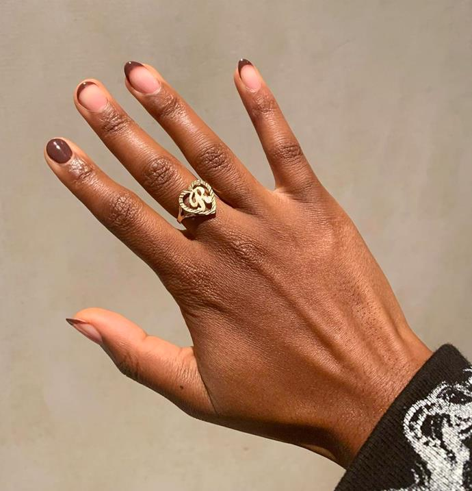 """**The Chocolate Brown Manicure** <br><br> As we see runways leaning into the rich, chocolate brown colour trend, it looks as if our nails are also headed in the same direction. Gorgeous on every skin tone, the [tonal colour](https://www.elle.com.au/beauty/brown-nail-trend-23192