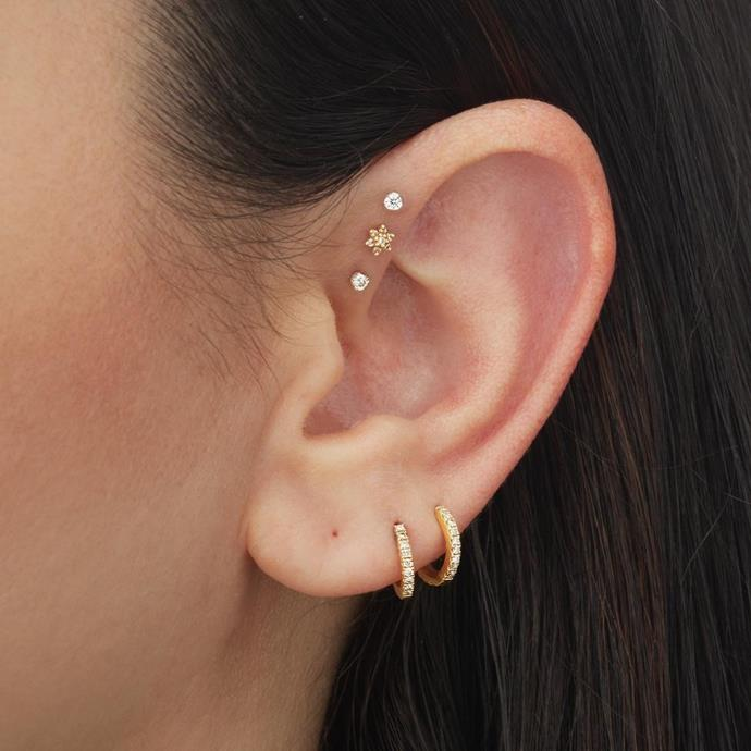 """**Which piercing styles or placements do you think will be everywhere in 2021?**<br><br>  """"We are witnessing more clients becoming experimental with their piercing placements; dictated by their own anatomy and personal style rather than being led by trends,"""" Gittoes tells *ELLE*.<br><br>  """"The three piercings I think we'll see more of in the new year are the [forward helix](https://www.elle.com.au/beauty/forward-helix-piercing-24549