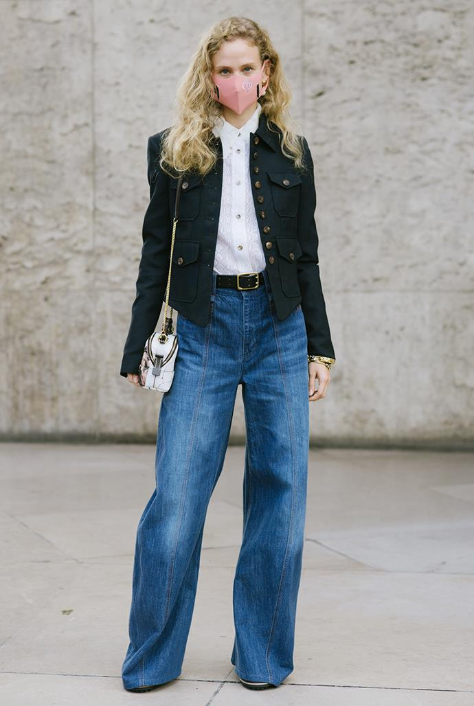 ***In: Loose-Fitting Denim*** <br><br> As we hunt for ways to bring more comfort into our work wardrobes, the influx of oversized and loose-fitting denim may be the answer to our prayers. Whether it's floor-skimming hemlines or low-rise waists, this trend has become a staple for fashion It-girls around the world—and we can see why.