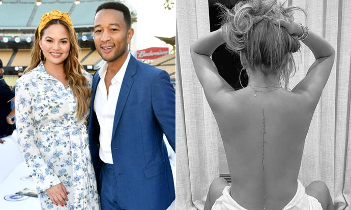 "**Chrissy Teigen and John Legend** <br><br> If we needed more convincing that Chrissy Teigen and John Legend are smitten, Teigen's latest tattoo should do the trick. The cursive tattoo, that runs down her spine, is a direct quote from Legend's latest song written about her, called ""Ooh Laa."" <br><br> Posted on her tattoo artist's Instagram, [the post](https://www.instagram.com/p/CJ9LRJQpDan/?utm_source=ig_embed